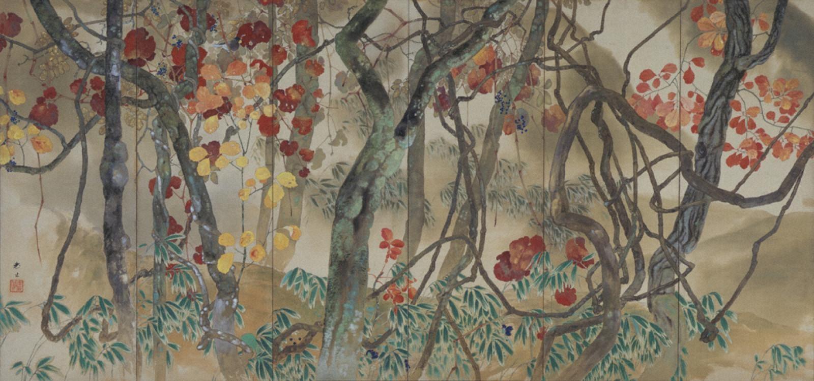 山葡萄図(左)
