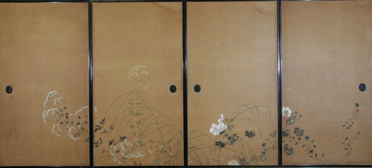 夏秋草花図襖(左)