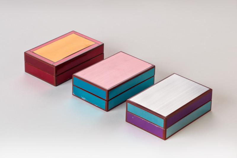 アルマイト貼色漆手箱